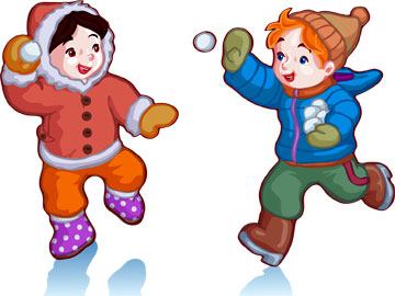 Діти взимку граються у сніжки